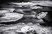 Ice on the Patapsco River at Oella, Maryland. A black and white photograph.