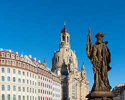 View of Frauenkirche in Neumarkt in Dresden, Germany