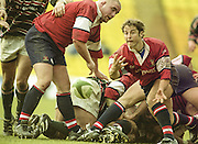 Watford. Great Britain. <br /> Gloucester scrum half, Andy GOMERSALL, passes the ball during the <br /> Heineken Cup Semi Final; Gloucester Rugby vs Leicester Tigers. Vicarage Road Stadium, Hertfordshire.England.  <br /> <br /> [Mandatory Credit, Peter Spurrier/ Intersport Images].