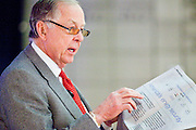 11 DECEMBER 2008 -- T. Boone Pickens uses the Wall Street Journal as a prop while talking about US consumption of oil at the Biltmore Thursday. Oil magnate and proponent of wind energy T. Boone Pickens spoke at the Biltmore during the Chamber breakfast Thursday. PHOTO BY JACK KURTZ