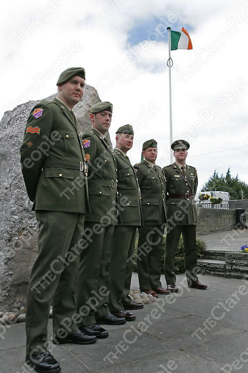 Cpl Michael Crowley, Sgt John Lillis, Lt Kieron O'Connor, Captain Reynolds and Captain Murnane of the 32nd Infantry Battalion at the 1916 Commemeration in Ennis on Sunday.<br />Picture: Don Moloney / Press 22