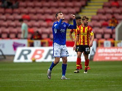 31JUL21 Queen of the South's Ruari Paton cele scoring their second goal. Partick Thistle 3 v 2 Queen of the South. First Scottish Championship game of the season.