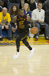 May 31, 2018 - Oakland, California, U.S - LeBron James #23 of the Cleveland  Cavaliers dribbles up  court during  their NBA Championship Game 1 with the  Golden State Warriors  at Oracle Arena in Oakland,  California on Thursday,  May 31, 2018. ARMANDO  ARORIZO/PI (Credit Image: © Prensa Internacional via ZUMA Wire)