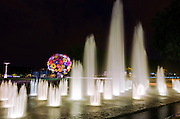 Fountain and flower sculpture in Antonin poncet square at night, Lyon, France (UNESCO World Heritage Site)