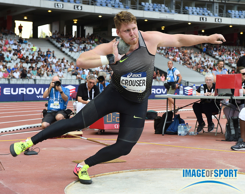 Ryan Crouser (USA) places second in the shot put at 72-1 3/4 (21.99m) in the Meeting de Paris during a IAAF Diamond League track and field meet at Stade de France in Saint-Denis, France on Saturday, Aug. 28, 2016. Photo by Jiro Mochizuki