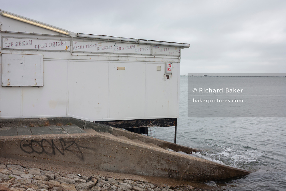 A seascape of a seafront business hut on the Western Esplanade at Southend.