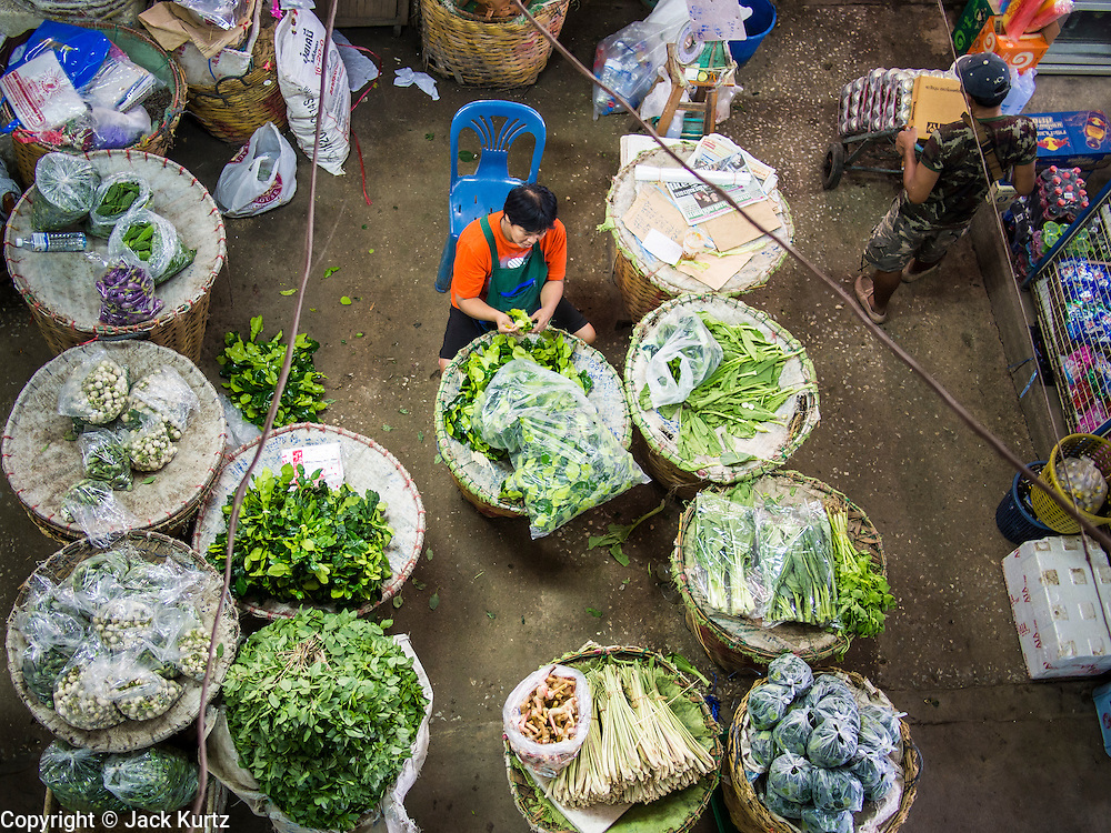 "23 AUGUST 2013 - BANGKOK, THAILAND:    A vendor sorts Kaffir lime leaves (Citrus hystrix DC., Rutaceae), also known as kieffer lime, makrut, or magrood in Pak Khlong Talad in Bangkok. Thailand entered a ""technical"" recession this month after the economy shrank by 0.3% in the second quarter of the year. The 0.3% contraction in gross domestic product between April and June followed a previous fall of 1.7% during the first quarter of 2013. The contraction is being blamed on a drop in demand for exports, a drop in domestic demand and a loss of consumer confidence. At the same time, the value of the Thai Baht against the US Dollar has dropped significantly, from a high of about 28Baht to $1 in April to 32THB to 1USD in August.    PHOTO BY JACK KURTZ"