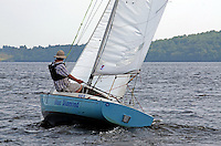 Georgian Day, Lough Erne Yacht Club, Killadeas, Co Fermanagh, N Ireland, UK, 20th July 2013. John McCrea, Ballinamallard, Co Fermanagh, skipper, Blue Diamond, Yeoman Class. 201307202785.   <br />