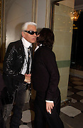 Karl Lagerfeld and Mark Jacobs, , Aids beneft during couture week, Pavilion D'Armee Nonville, 21 January 2004. © Copyright Photograph by Dafydd Jones 66 Stockwell Park Rd. London SW9 0DA Tel 020 7733 0108 www.dafjones.com
