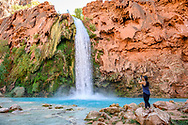 The turquoise waters of Havasu Falls in Supai, Arizona.