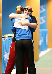 05.09.2015, Olympia Schiessanlage Hochbrueck, Muenchen, GER, ISSF World Cup 2015, Gewehr, Pistole, Damen, 10 Meter Luftpistole, im Bild Finalsiegerin Zorana Arunovic (SRB) umarmt lachend die zweitplatzierte Anna Korakaki (GRE) // during the women's 10M air Pistol competition of the 2015 ISSF World Cup at the Olympia Schiessanlage Hochbrueck in Muenchen, Germany on 2015/09/05. EXPA Pictures © 2015, PhotoCredit: EXPA/ Eibner-Pressefoto/ Wuest<br /> <br /> *****ATTENTION - OUT of GER*****
