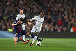 March 14, 2018 - Barcelona, Spain - NGOLO KANTE of Chelsea FC duels for the ball with SERGI ROBERTO of FC Barcelona during the UEFA Champions League, round of 16, 2nd leg football match between FC Barcelona and Chelsea FC on March 14, 2018 at Camp Nou stadium in Barcelona, Spain (Credit Image: © Manuel Blondeau via ZUMA Wire)