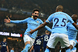 16th December 2017 - Premier League - Manchester City v Tottenham Hotspur - Ilkay Gundogan of Man City celebrates after scoring their 1st goal - Photo: Simon Stacpoole / Offside.