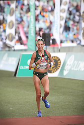 10062018 (Durban) A 5th position Charne Bosman, RSA (6:33:08) run towards the finnish line during the 2018 Comrades marathon in Durban.Picture: Motshwari Mofokeng/ANA