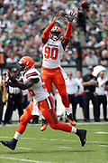 Cleveland Browns rookie linebacker Emmanuel Ogbah (90) leaps in the air as he tried to knock down a first quarter pass during the 2016 NFL week 1 regular season football game against the Philadelphia Eagles on Sunday, Sept. 11, 2016 in Philadelphia. The Eagles won the game 29-10. (©Paul Anthony Spinelli)