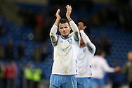 Daniel Pudil of Sheffield Wednesday, scorer of their equaliser, applauds the fans at the end of the game. EFL Skybet championship match, Cardiff city v Sheffield Wednesday at the Cardiff city stadium in Cardiff, South Wales on Wednesday 19th October 2016.<br /> pic by Andrew Orchard, Andrew Orchard sports photography.