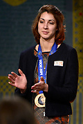 Officiele Huldiging van de Olympische medaillewinnaars Sochi 2014 / Official Ceremony of the Sochi 2014 Olympic medalists.<br /> <br /> Op de foto: Margot Boer