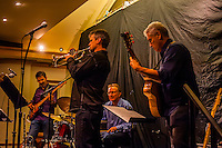 Latin jazz musicians perform with Luis Munoz (he is orginally from Costa Rica) on drums, Goleta, California USA.
