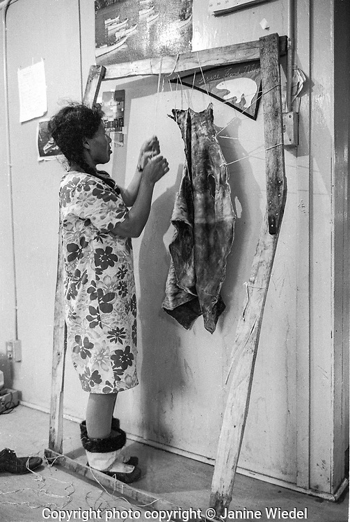 Malaya stretching a seal skin to later make into clothes. 1970s Inuit life in the Canadian Arctic settlement of Pangnirtung in the territory of Nunavut (North West Territories) 1973