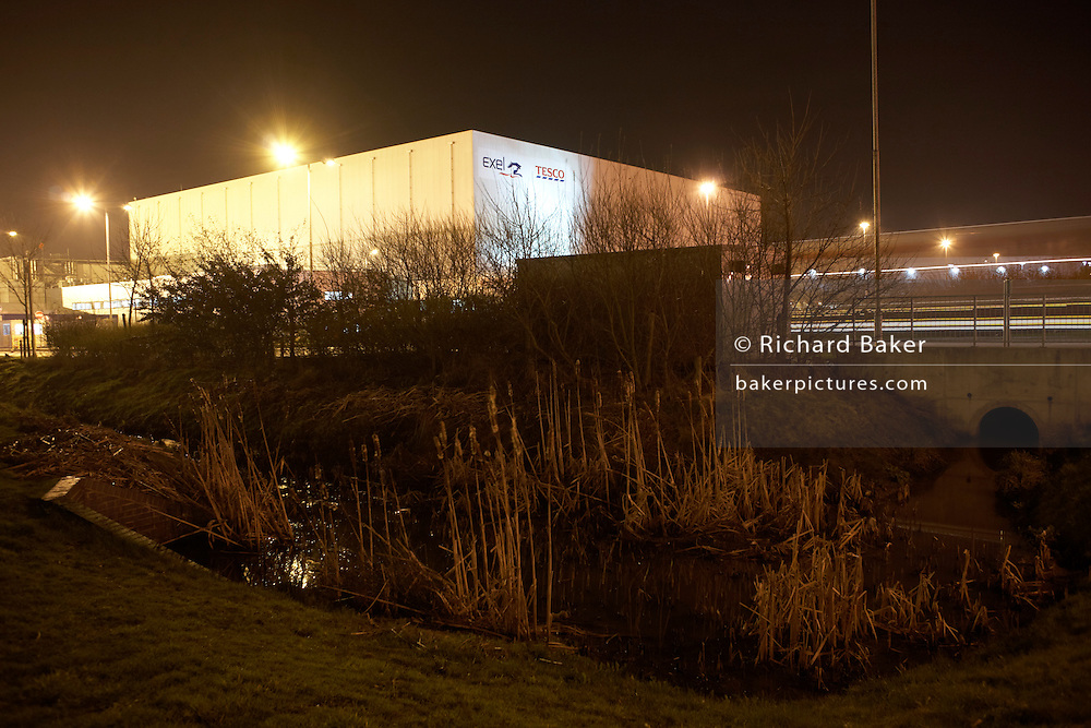 Tesco supermarket facilities at the DIRFT warehouse logistics park in Daventry, Northamptonshire