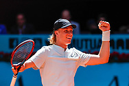 Denis Shapovalov of Canada celebrates the victory against Milos Raonic of Canada during the Mutua Madrid Open 2018, tennis match on May 10, 2018 played at Caja Magica in Madrid, Spain - Photo Oscar J Barroso / SpainProSportsImages / DPPI / ProSportsImages / DPPI