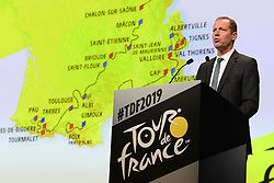 October 25, 2018 - Paris, France - PRUDHOMME Christian (FRA) Director of ASO pictured during the presentation of the 2019 Tour de France at the Palais des Congres (Credit Image: © Panoramic via ZUMA Press)