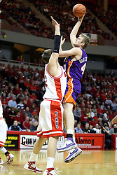 12 January 2008: Levi Dyer gets on the tips of his toes but can't stop this shot by Pieter Van Tongeren during a game in which  the Purple Aces of the University of Evansville lost to  the Redbirds of Illinois State on Doug Collins Court at Redbird Arena in Normal Illinois by a score of 74-66.