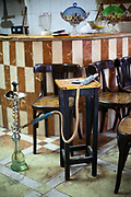 A shish pipe on a table at the Telegraph Cafe, off Halim Square, Cairo, Egypt