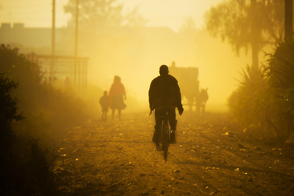 Dusty road leading to Lake Nakuru National Park, Kenya
