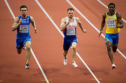 Michael Tumi of Italy, Andrew Robertson of Great Britain, Odain Rose of Sweden compete in the 60m Men heats on day two of the 2017 European Athletics Indoor Championships at the Kombank Arena on March 4, 2017 in Belgrade, Serbia. Photo by Vid Ponikvar / Sportida