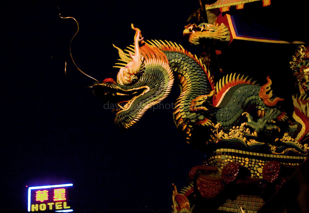 Dragon carving on a buddhist temple, Keelung, taiwan