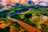 Aerial view above the Rewa River on Vitu Levu, the largst island in the Republic of Fiji.