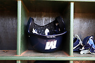 CARY, NC - FEBRUARY 23: Monmouth batting helmet. The Monmouth University Hawks played the Saint John's University Red Storm on February 23, 2018 on Field 2 at the USA Baseball National Training Complex in Cary, NC in a Division I College Baseball game. St John's won the game 3-0.