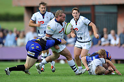 James Hall (Bristol) goes on the attack - Photo mandatory by-line: Patrick Khachfe/JMP - Mobile: 07966 386802 17/08/2014 - SPORT - RUGBY UNION - Bristol - Clifton Rugby Club - Bristol Rugby v Newport Gwent Dragons - Pre-Season Friendly
