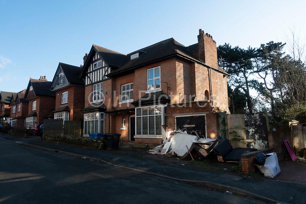Flat clearance rubbish dumped outside a house in Kings Heath on 27th February 2020 in Birmingham, United Kingdom.