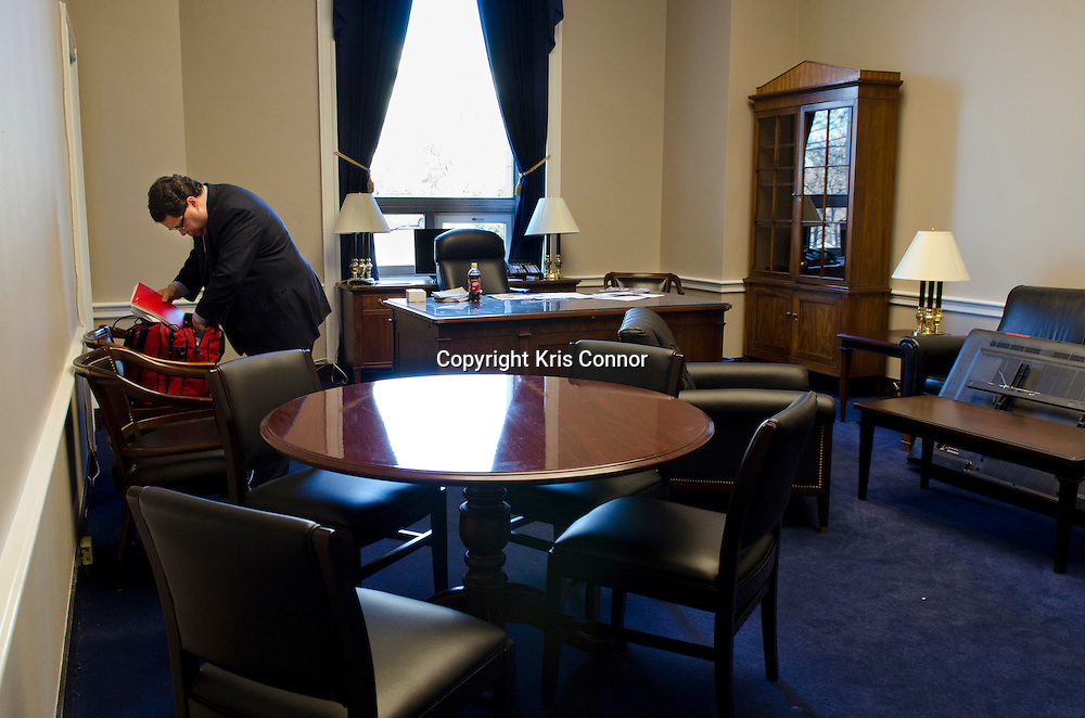 Representative Blake Farenthold(R-TX) works his new office in 2110 Rayburn House Office Building on Capitol Hill in Washington DC on January 3, 2010. Photo  by Kris Connor