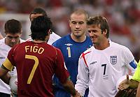 Photo: Chris Ratcliffe.<br /> England v Portugal. Quarter Finals, FIFA World Cup 2006. 01/07/2006.<br /> David Beckham of England shakes hands with Luis Figo of Portugal.