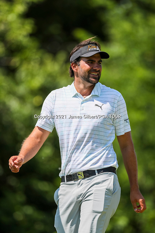 WICHITA, KS - JUNE 20: Curtis Thompson looks on from the 2nd hole during the final round of the Wichita Open Benefitting KU Wichita Pediatrics at Crestview Country Club on June 20, 2021 in Wichita, Kansas. (Photo by James Gilbert/PGA TOUR via Getty Images)
