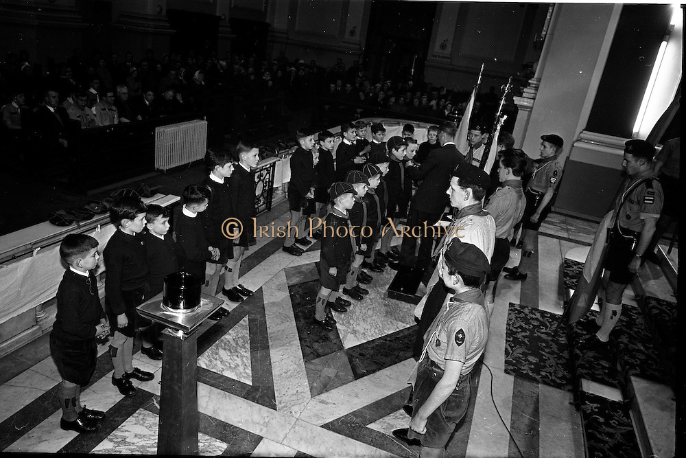 20/01/1963<br /> 01/20/1963<br /> 20 January 1963<br /> CBSI Investiture at Merchants Quay, Dublin. Investiture of 52 Scouts and 30 Macoimh, and presentation of 4 commissions to Scout Masters at the Franciscan Church. Investiture of Macoimh.