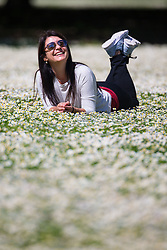 On holiday in London from Argentina, Amorina Martin relaxes in the sunshine among the daisies on a perfect spring day in Regents Park. London, May 04 2018.