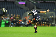Kick from Simon Hickey during the Guinness Pro 14 2018_19 match between Edinburgh Rugby and Toyota Cheetahs at BT Murrayfield Stadium, Edinburgh, Scotland on 5 October 2018.
