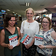 31.05.2018.          <br /> Limerick and Clare Education Training Board launch Youth Work Plan 2018-2021 at Thomond Park Limerick with Pat Breen TD, Minister of State with special responsibility for Trade, Employment, Business, EU Digital Single Market and Data Protection, Clare. <br /> <br /> Pictured at the event were, Kirsty Boucher, Pamela Noonan and Aine Mulcahy all of Foroige. Picture: Alan Place