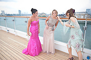 DEANA MORGAN; KIMBERLEY WALSH; WENDY SMITH, Breast Cancer Haven 10th Anniversary Gala Event aboard Super Luxury Yacht Seabourn Sojourn. Off Canary Wharf. London. 5 June 2010. -DO NOT ARCHIVE-© Copyright Photograph by Dafydd Jones. 248 Clapham Rd. London SW9 0PZ. Tel 0207 820 0771. www.dafjones.com.