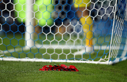 A poppy wreath is laid next to one of the goals at Fratton Park - Mandatory byline: Robbie Stephenson/JMP - 07966 386802 - 15/11/2015 - Rugby - Fratton Park - Portsmouth, England - Portsmouth v AFC Wimbledon - Sky Bet League Two