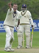 Shenley Middlesex Sri Lanka Tour Match<br /> Middlesex vs Sri Lanka <br /> Photo Peter Spurrier<br /> 11/05/2002<br /> Sport - Cricket - Middlesex vs Sri Lanka -Shenley:<br /> Aaron Laraman appeals for de Silva's wicket [Mandatory Credit:Peter SPURRIER;Intersport Images]
