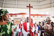 Pastors process into the service on Sunday, March 15, 2015, at the Evangelical Lutheran Church in Tanzania – South-East of Lake Victoria Diocese's (ELCT-SELVD) Ebenezer Cathedral in Shinyanga, Tanzania. LCMS Communications/Erik M. Lunsford