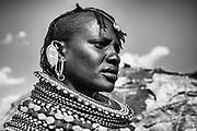 A portrait of a Rendille tribe women wearing beaded necklaces,black and white, Lake Turkana, Loiyangalani,Kenya, Africa