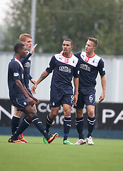 Falkirk's Phil Roberts cele scoring their goal.<br /> Half time : Falkirk 1 v 2 Dumbarton, Scottish Championship game played today at the Falkirk Stadium.<br /> ©Michael Schofield.