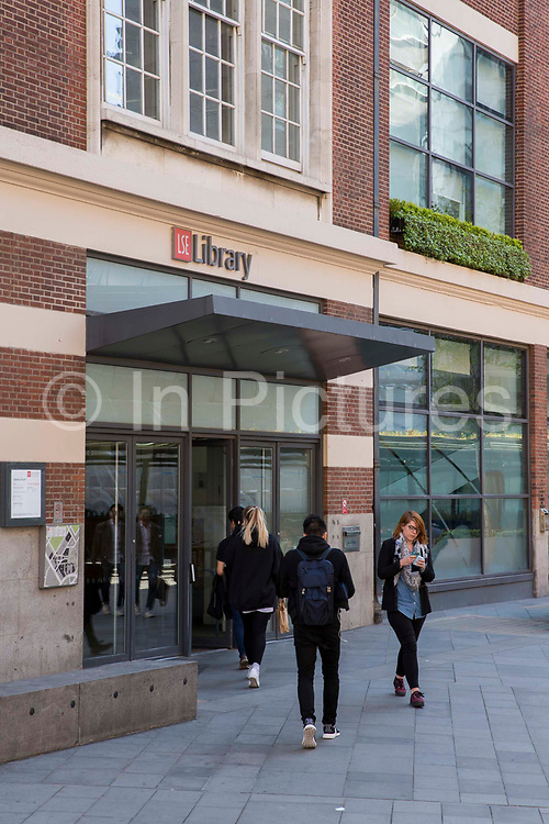 The entrance to the main LSE library designed by Norman Foster. The London School of Economics and Political Science LSE. Westminster, Central London. One of the leading social science universities in the world with students attending from over 155 different nations.