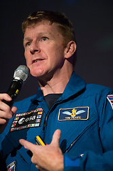 British astronaut Tim Peake speaks during a visit to the Glasgow Science Centre, where he has given an insight into his mission aboard the International Space Station to the audience in Glasgow, including how he coped with drinking recycled urine.